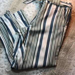 Loft blue white green pants with zip up pant legs